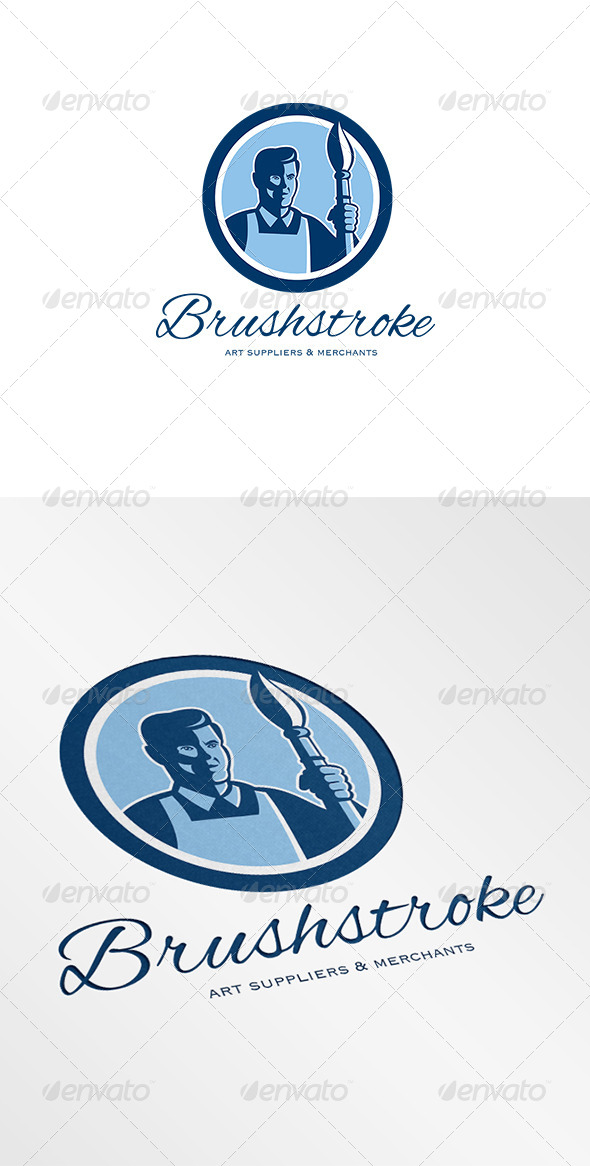 GraphicRiver Brushstroke Art Suppliers and Merchants Logo 6943842