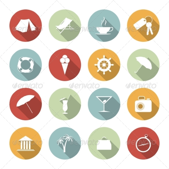 GraphicRiver Traveling and Vacation Flat Icons 6945448