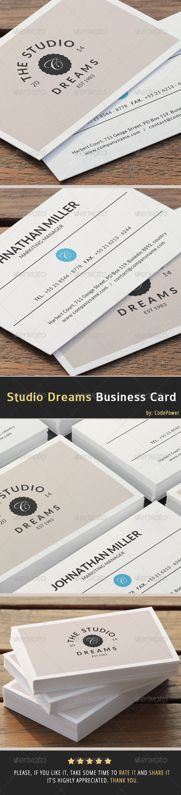 GraphicRiver Studio Dreams Business Card 6948057