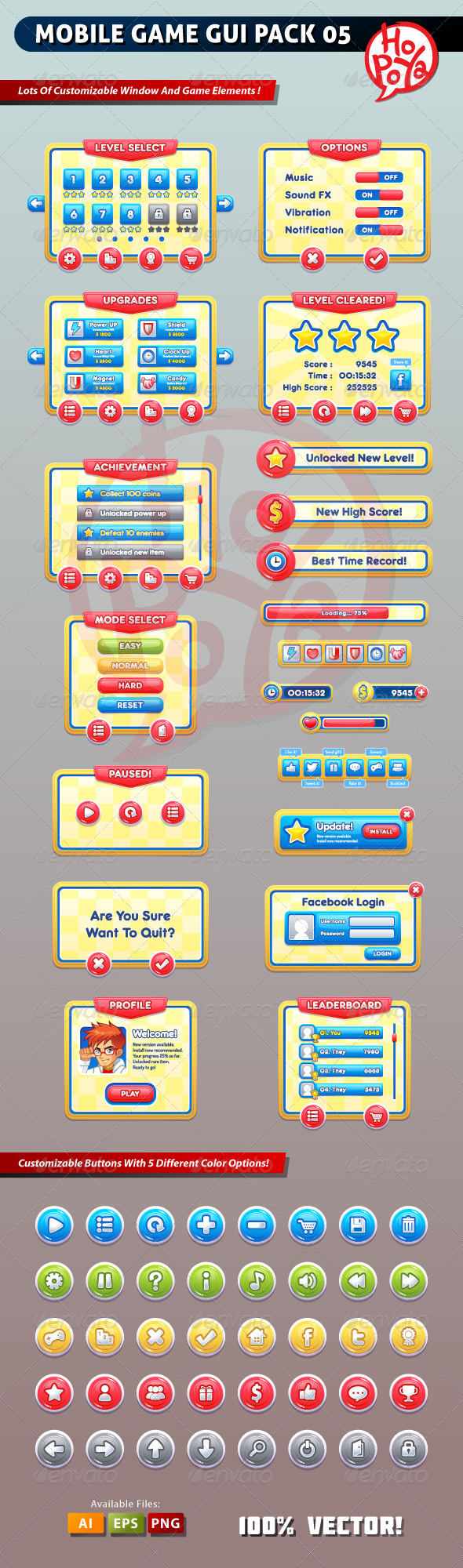 Mobile Game GUI Pack 05 - Web Elements Vectors