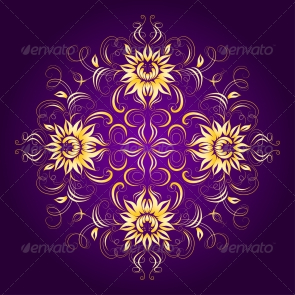 GraphicRiver Filigree Background with Lace Ornament 6949739
