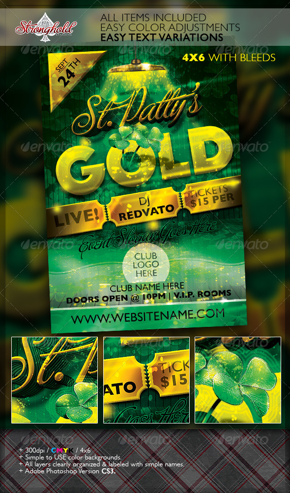 GraphicRiver St Patrick s Day Gold Event Flyer Template 6952886