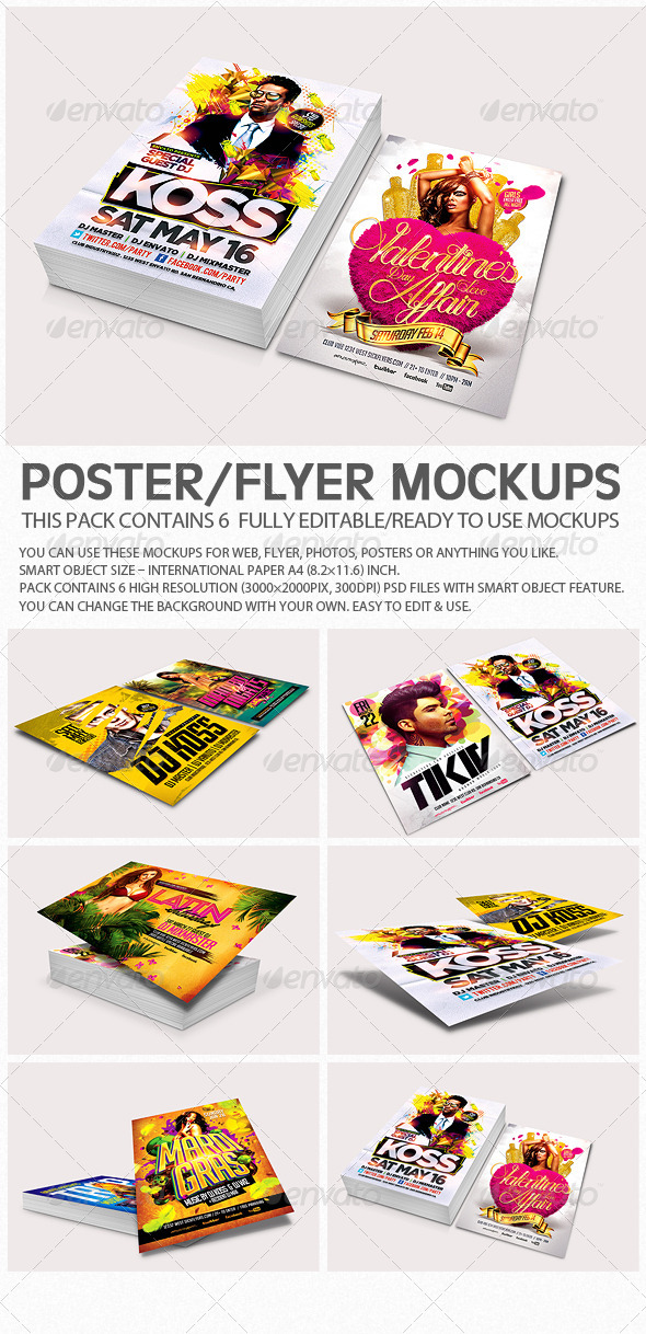 GraphicRiver Flyer Poster Mockups V3 6957775