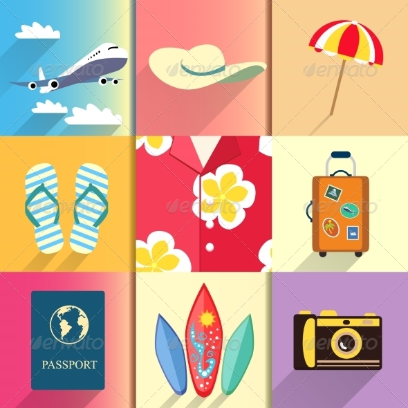GraphicRiver Travel and Vacation Icons Set 6957800
