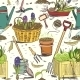 Seamless Gardening Tools Pattern Background - GraphicRiver Item for Sale