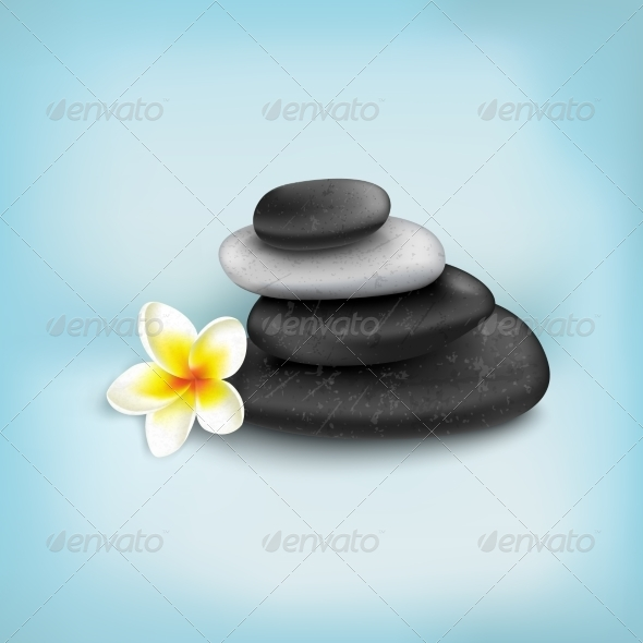 GraphicRiver Spa Stones with Exotic Tropical Flower 6958387