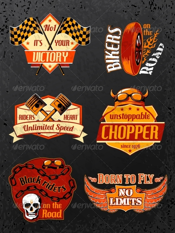 GraphicRiver Motorcycle Bike Badges Set 6958497
