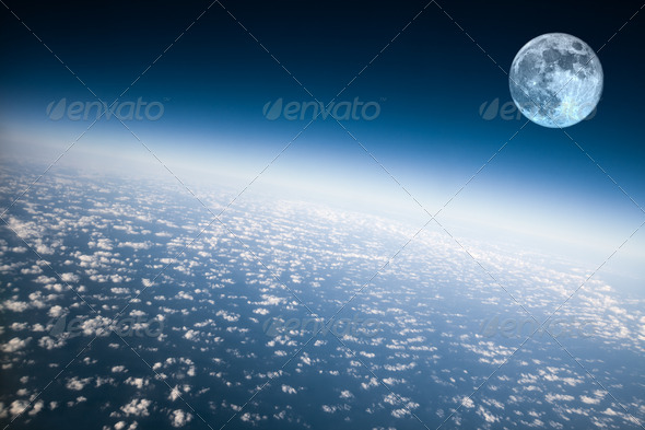 Planet Earth and Moon - Stock Photo - Images