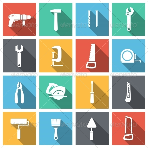 GraphicRiver Tools Flat Icons Set 6958625