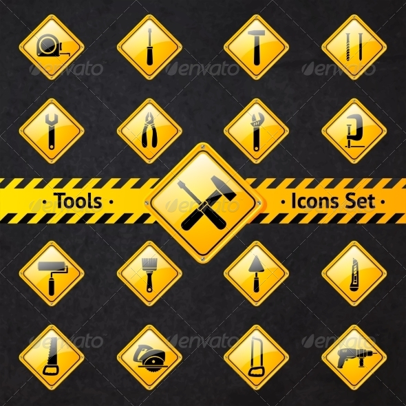 GraphicRiver Toolbox Attention Yellow and Black Signs 6958643