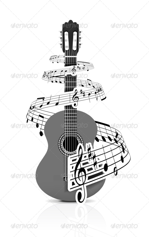 GraphicRiver Music Notes with Guitar Player 6958701