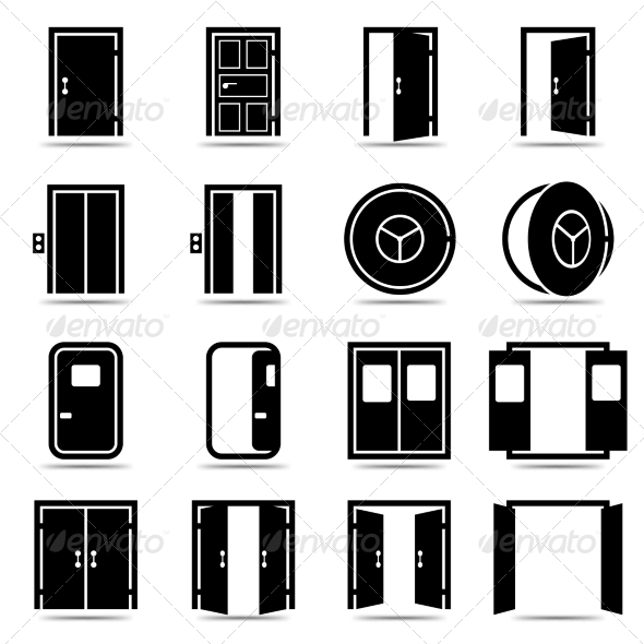 GraphicRiver Open and Closed Doors Icons 6958708