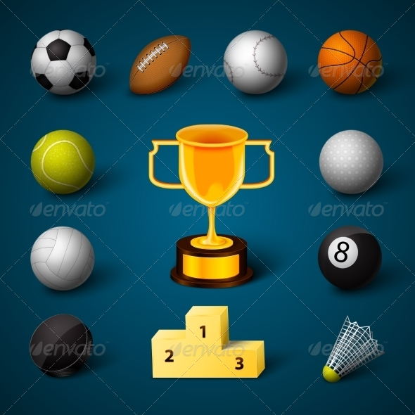 GraphicRiver Sports Realistic Icons Set 6958743