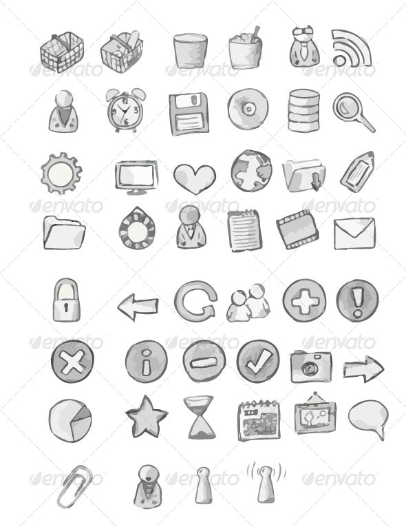 GraphicRiver Hand-Drawing Icon Set 6958853