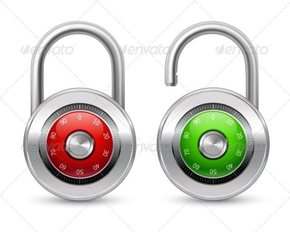 GraphicRiver Open and Closed Realistic Lock Icon 6958885