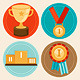 Achievement Badges in Flat Style - GraphicRiver Item for Sale
