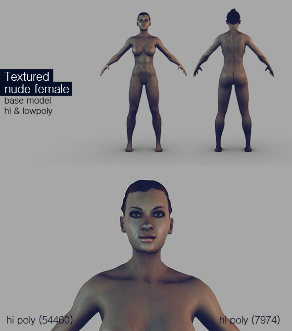 3DOcean Textured Female Base Mesh 6959499