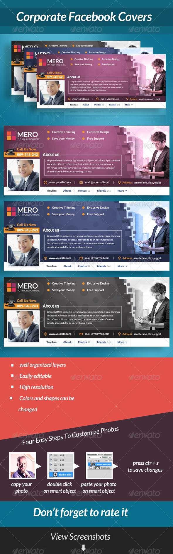GraphicRiver Coporate Facebook Covers 6960084