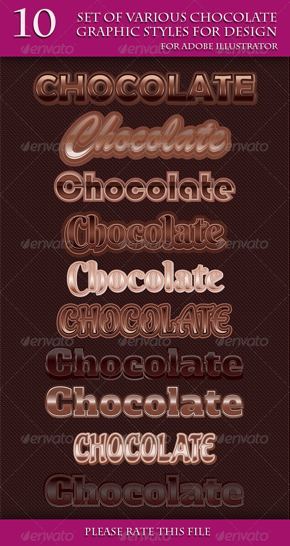 GraphicRiver Set of Various Chocolate Graphic Style for Design 6961507