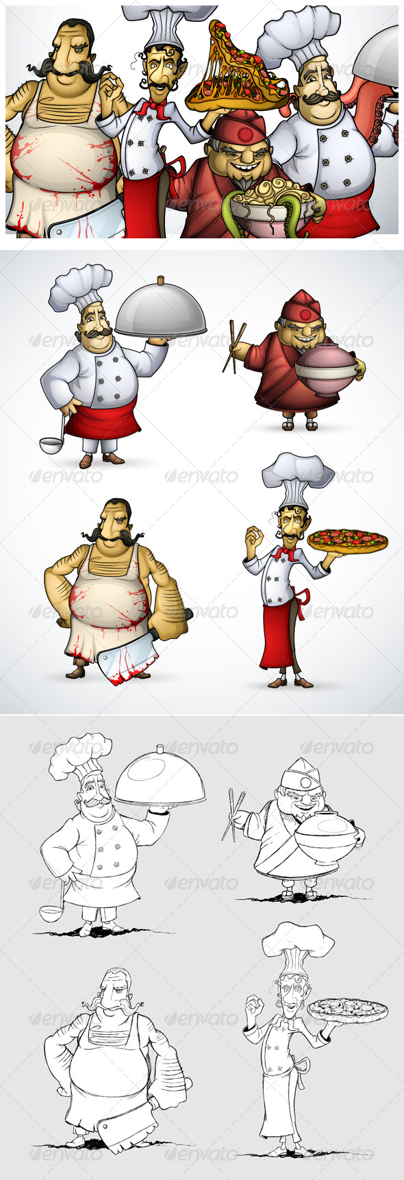 GraphicRiver Set of Four different Chefs 6961638