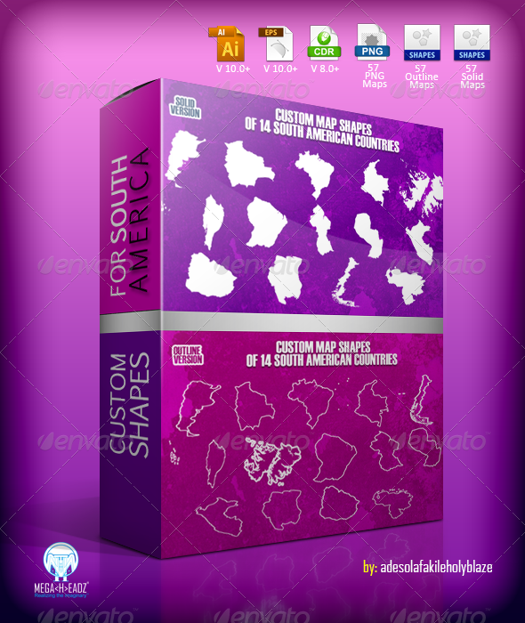 GraphicRiver 14 South American Countries Custom Map Shapes 6961703