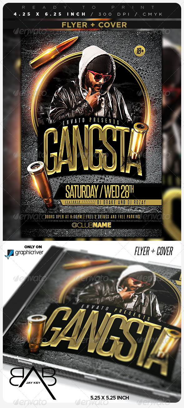 GraphicRiver Gangsta Music Party Flyer & Cover 6961740