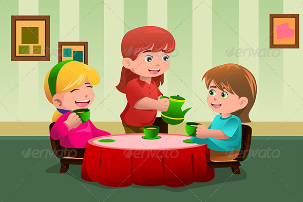 GraphicRiver Girls having a Tea Party 6961961