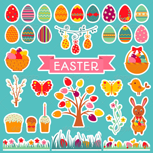 GraphicRiver Set of Easter Stickers 6962215
