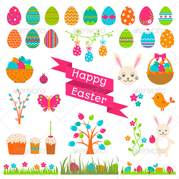 GraphicRiver Set of Easter Flat Elements 6962223