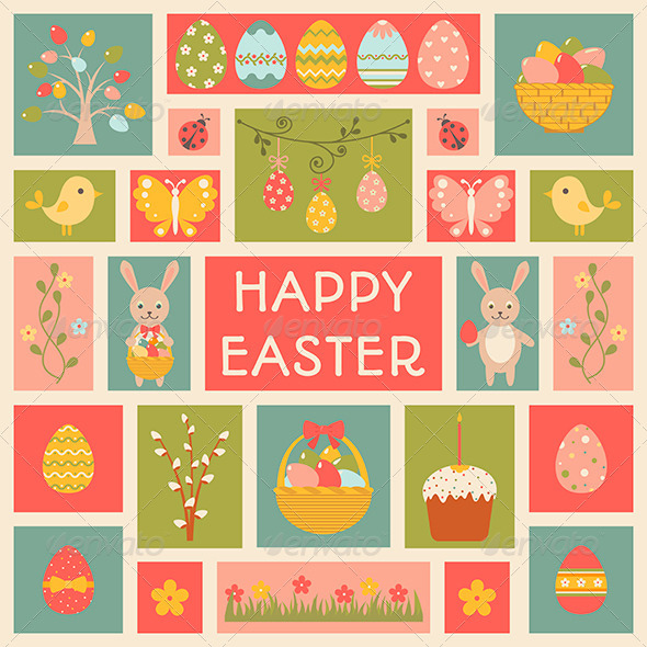 GraphicRiver Holiday Card with Easter elements 6962230
