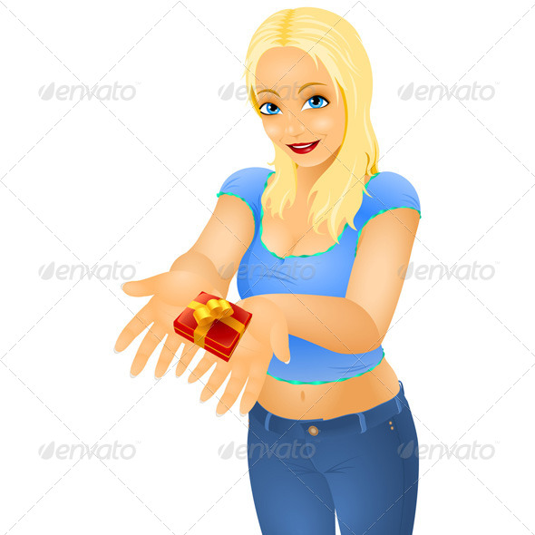 GraphicRiver Girl Presents a Gift 6962364