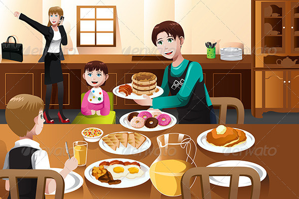 GraphicRiver Stay at Home Father Eating Breakfast with his Kids 6963432