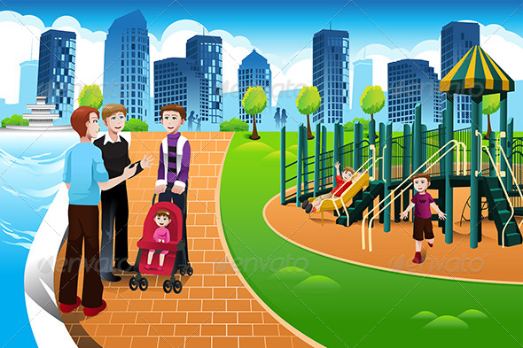 GraphicRiver Father and their Kids in the Playground 6963535