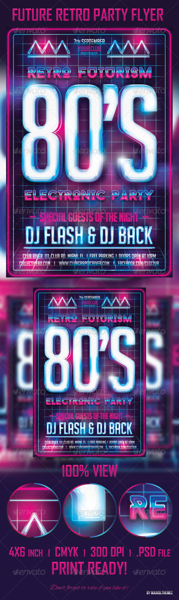 Future Retro Party Flyer Template - Events Flyers