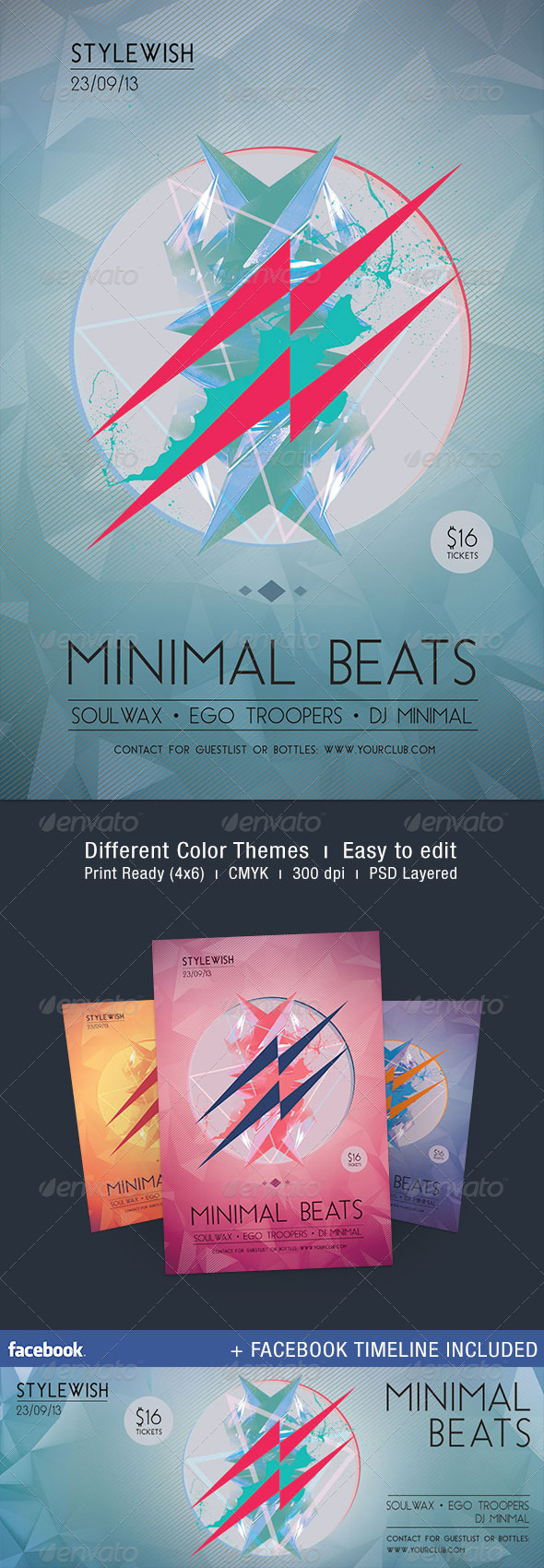Minimal Beats Flyer + Facebook Timeline - Clubs & Parties Events