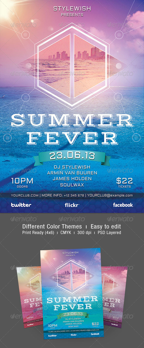 Summer Fever Flyer - Clubs & Parties Events