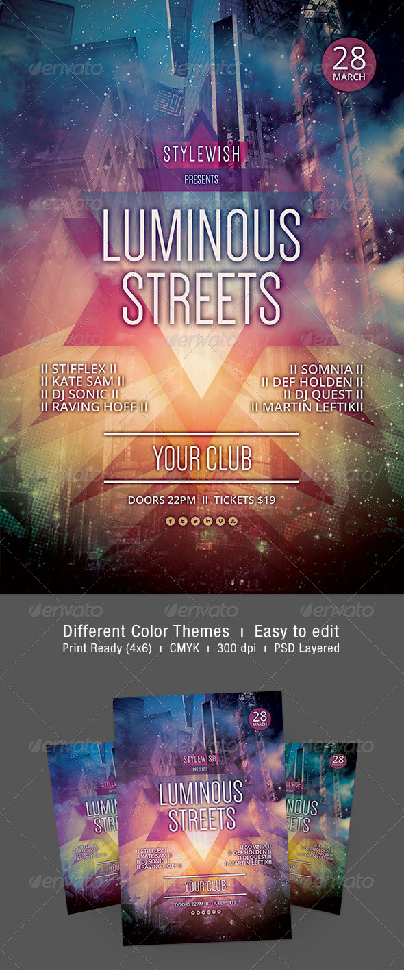 Luminous Streets Flyer - Clubs & Parties Events