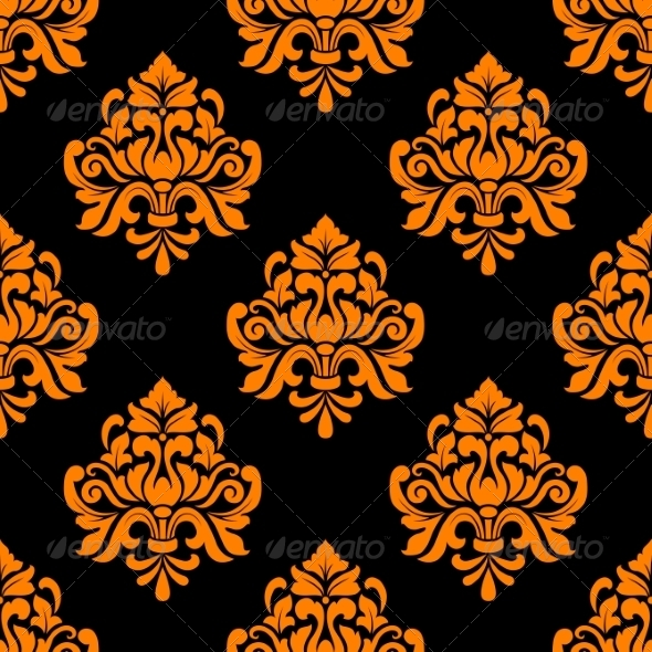 GraphicRiver Black and Orange Seamless Floral Pattern 6964736