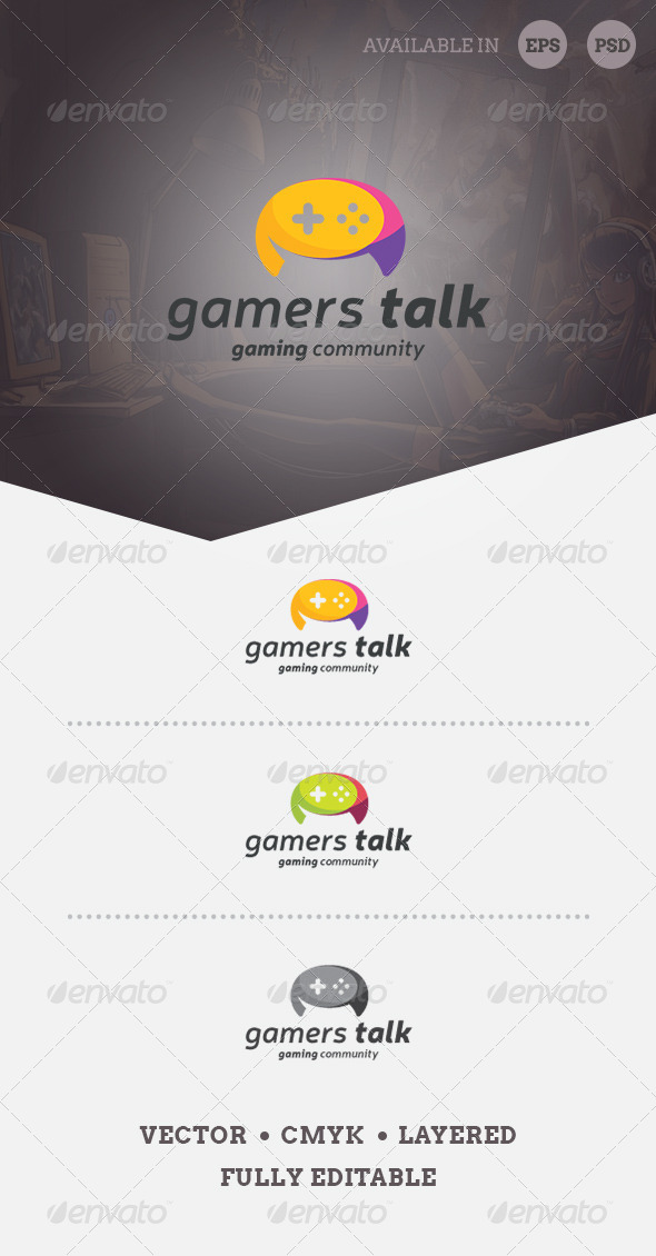 GraphicRiver Gamers Talk Logo Template 6964936