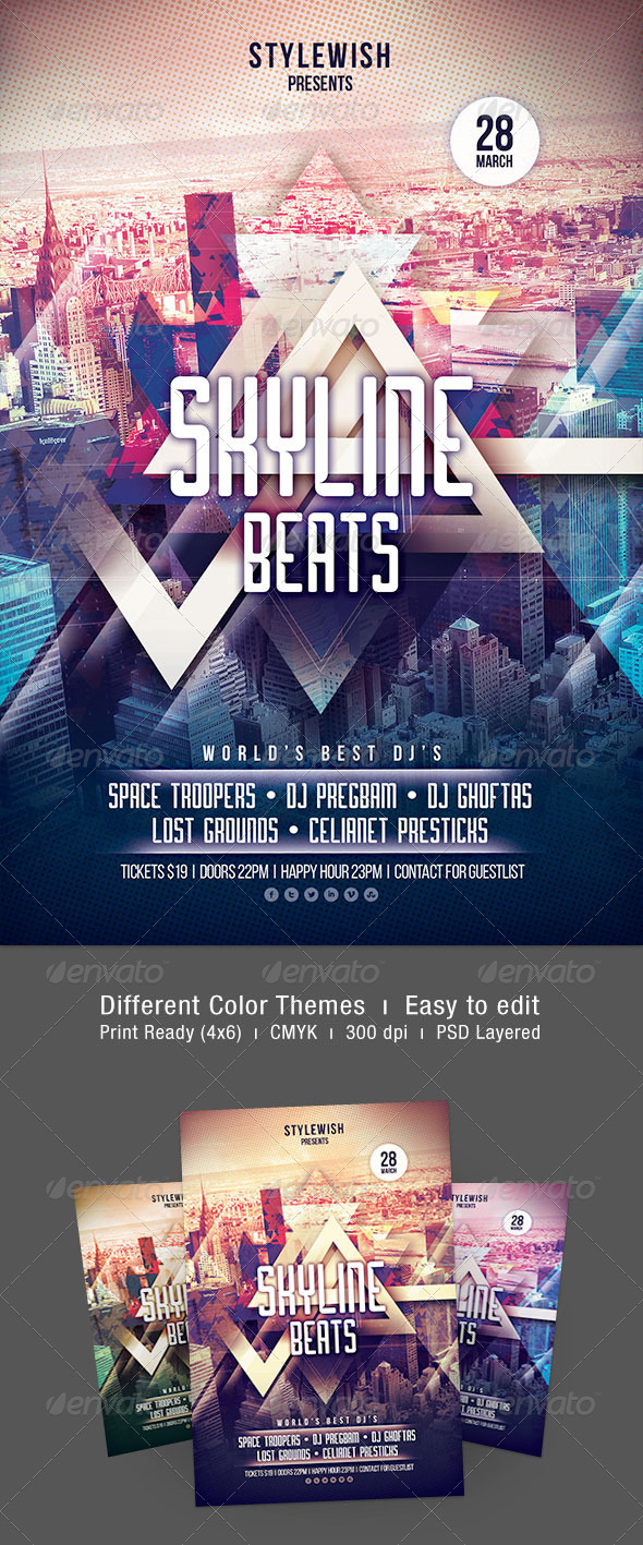 Skyline Beats Flyer - Clubs & Parties Events
