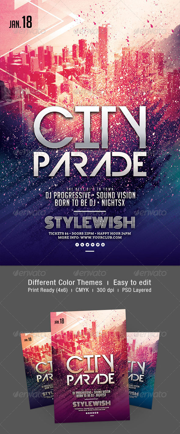 City Parade Flyer - Clubs & Parties Events