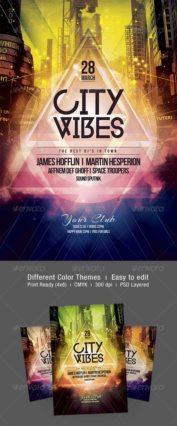 City Vibes Flyer - Clubs & Parties Events