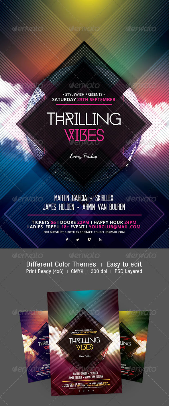 Thrilling Vibes Flyer - Clubs & Parties Events