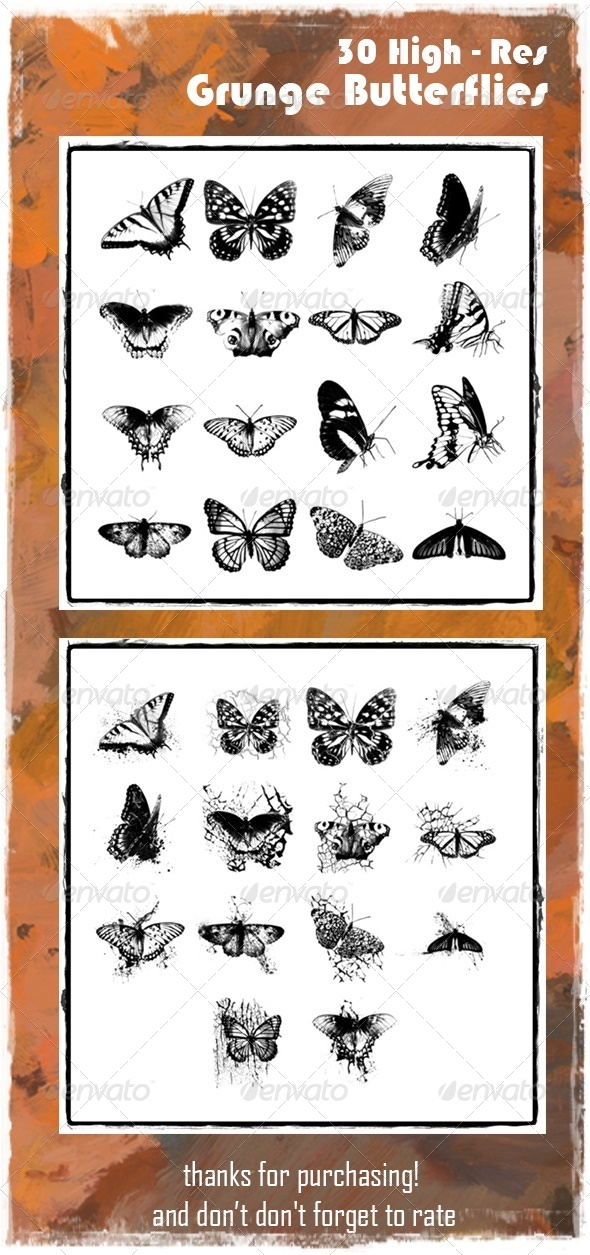 GraphicRiver Grunge Butterfly Brush Set 6965028