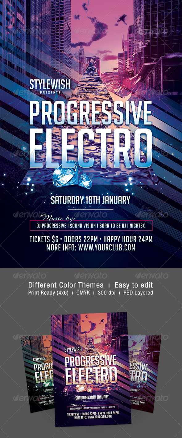 Progressive Electro Flyer - Clubs & Parties Events