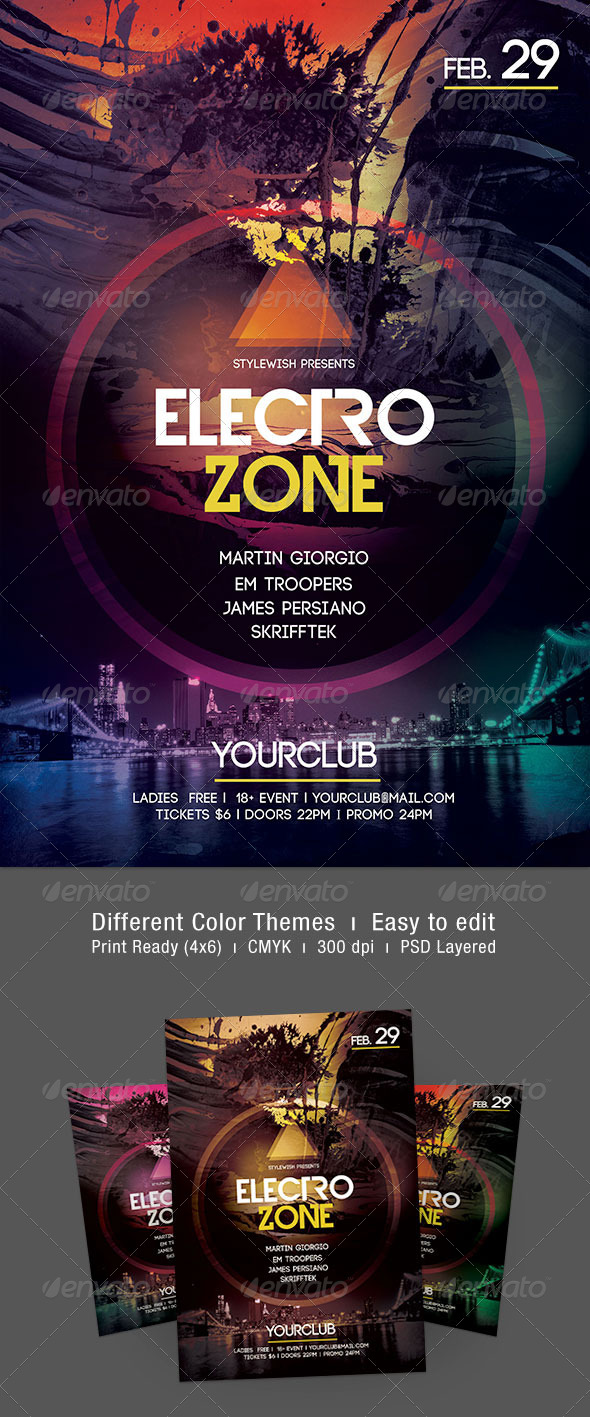 Electro Zone Flyer - Clubs & Parties Events