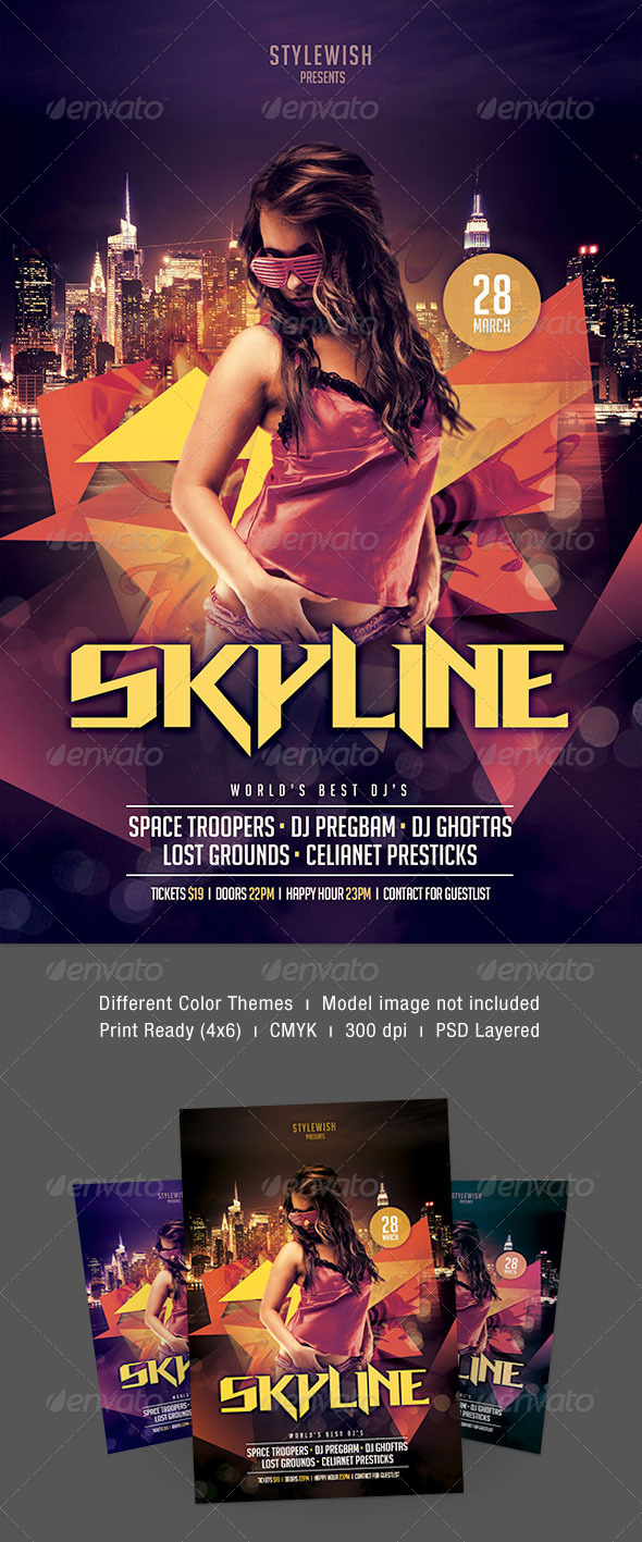 Skyline Party Flyer - Clubs & Parties Events