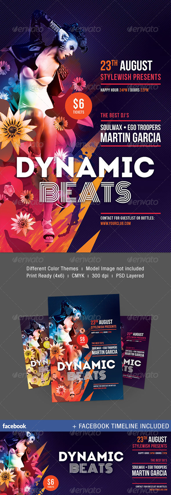 Dynamic Beats Flyer + Facebook Timeline - Clubs & Parties Events