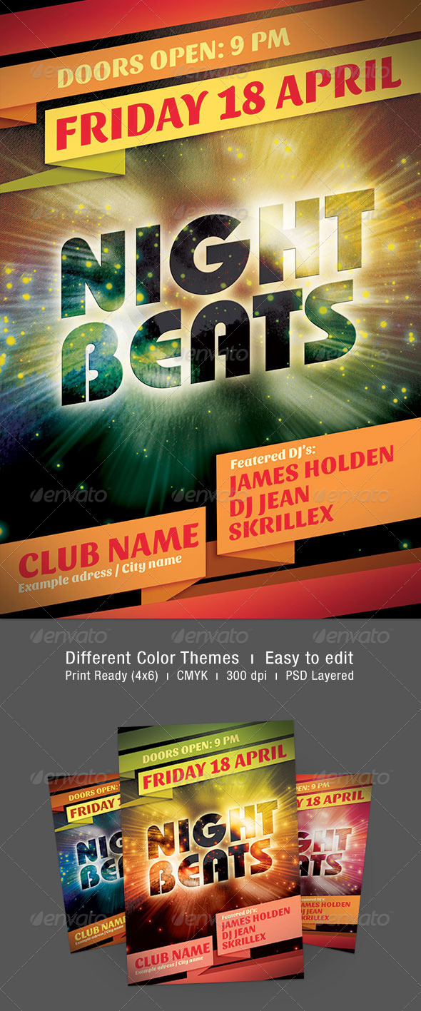 Night Beats Flyer - Events Flyers