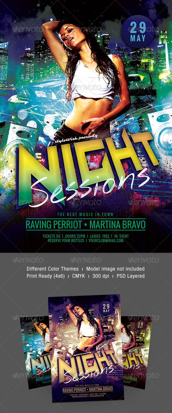 Night Sessions Flyer - Clubs & Parties Events